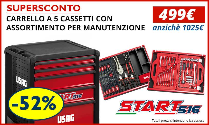 Nuovo Carrello Portautensili USAG 516 START a 5 cassetti con Assortimento Manutenzione